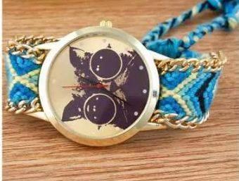 lindo reloj gato azul