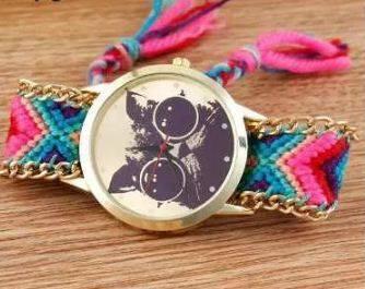 reloj tejido fucsia