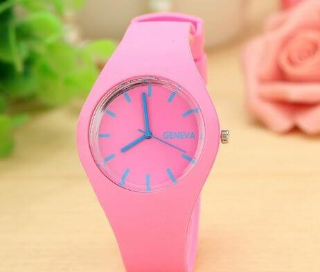 reloj silicona rosado
