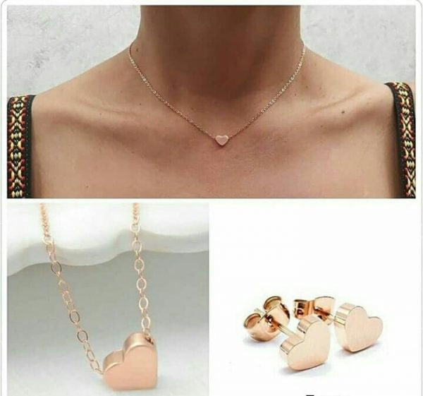 cadena corazon oro rosa
